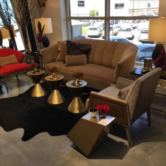 Chaddock CC Sofa and Roly Poly Occasional Tables