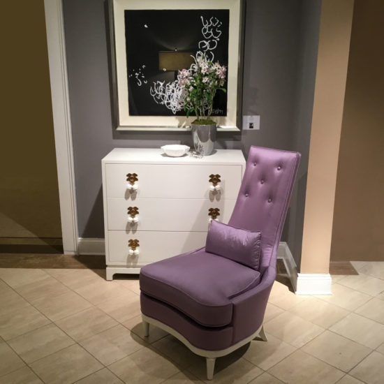 Larry Laslo Lavendar Chair in Brown room